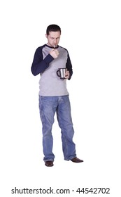Casual Man Lighting his Cigarette and Drinking Coffee - Isolated Background