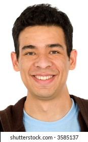 casual man portrait smiling - isolated over a white background