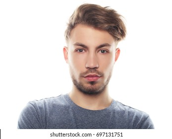 Casual man posing casually over white