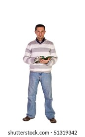 Casual Man Reading a Book Standing Up - Isolated Background