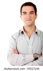 Casual man smiling with arms crossed - isolated over white