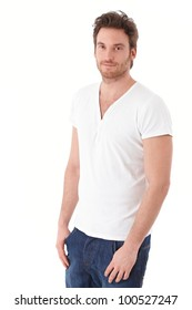 Casual man smiling over white background.