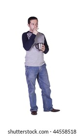 Casual Man Smoking and Drinking Coffee - Isolated Background