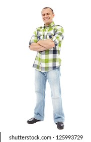 Casual man standing with his arms folded isolated on white background