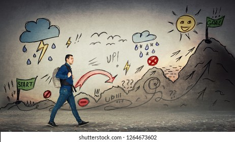 Casual man starting a traveler quest with obstacles drawn on wall. Self overcome imaginary climbing mountain with ups and downs for reaching goals. Difficult road to finish flag. Career move metaphor.