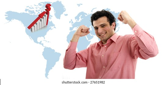 casual man symbolizing victory