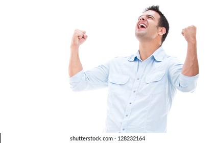 Casual man winning and celebrating - isolated over white