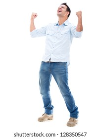 Casual man winning and celebrating - isolated over a white background