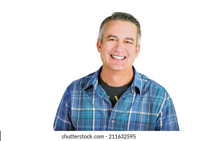 Casual mature man on a white background