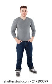 Casual men standing isolated on a white background