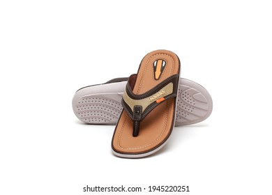 Casual Men's sandals isolated on white background. Comfortable men's sandals. Space for text
