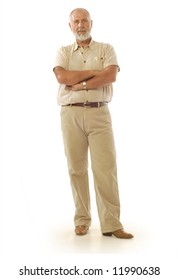 Casual older male standing on white background