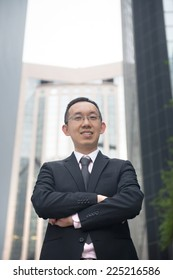 casual portrait of asian business man in hong kong,china