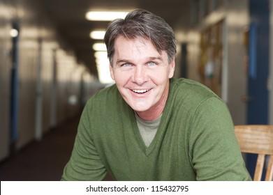 casual portrait of a mature, happy man