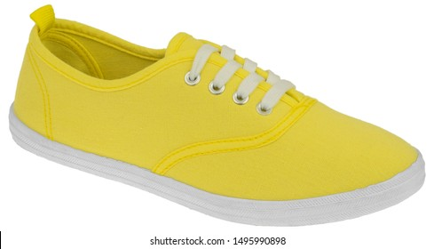 Casual sport yellow shoes for men, women and children isolated on white background