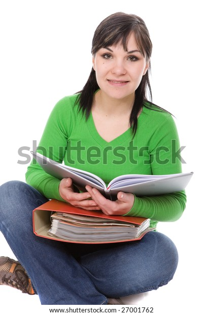 casual student isolated on white background