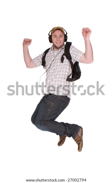 casual student over white background