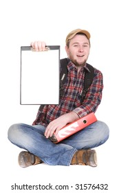 casual student sitting on white background