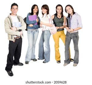 casual students standing over a white background