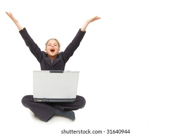 casual success girl on a laptop - isolated over a white background