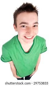 Casual teenage boy looking at the camera