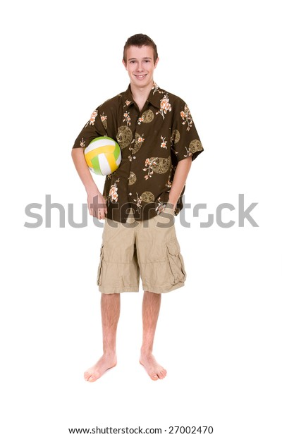 casual teenager isolated on white background