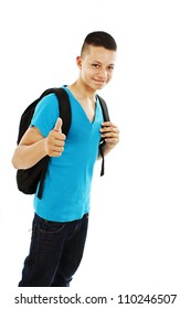 Casual teenager preparing to school showing OK sign  on white background