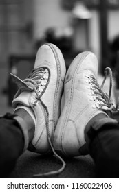 Casual white shoes sneakers relax moment black white photography