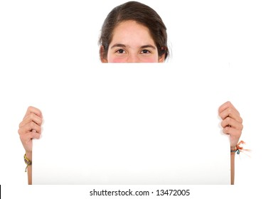 casual woman displaying a banner add isolated over a white background
