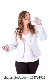 Casual woman drinking water