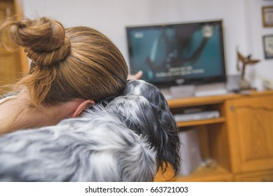 Casual woman and her dog, english setter, watching a movie or another television program