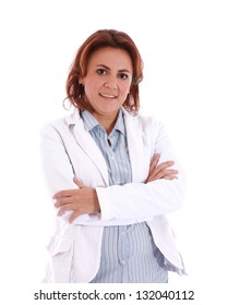 Casual woman looking at camera with arms crossed