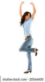 casual woman looking happy with her arms up - isolated
