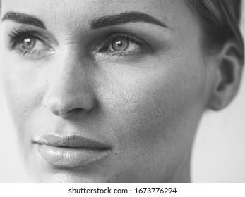 Casual woman portrait beauty female natural monochrome