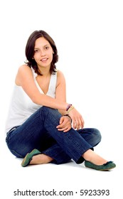 Casual woman portrait on the floor smiling over a white background