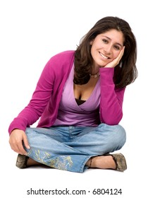 Casual woman portrait on the floor over a white background