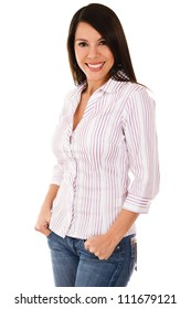Casual woman smiling - isolated over a white background
