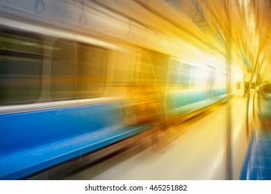 Casual woman in subway train at metro