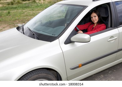 casual woman traveling by car