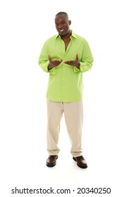 Casual young African American man standing in a bright green shirt with hands gesturing inward.
