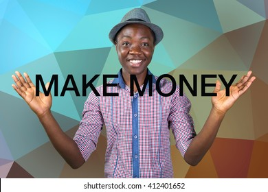 """Casual young african man showing """"make money"""" inscription"""