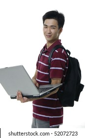 Casual young boy r with laptop. over white background