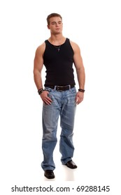 Casual young man in black undershirt and jeans.