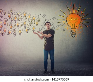 Casual young man, confused face expression, holding hands outstretched as receiving a lot of ideas gathering and create a conclusion. Ingenious student lightbulb education concept.
