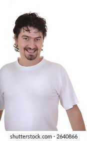 casual young man portrait in a white background