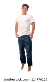 Casual young man. Studio shot over white.