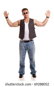 Casual young man in vest and jeans.