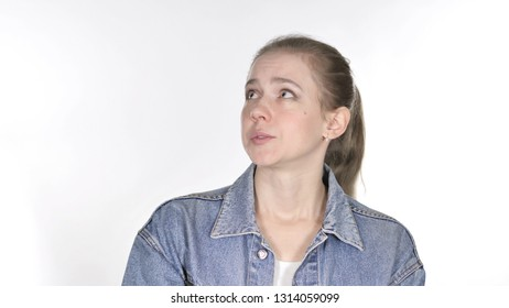 Casual Young Woman Confused and Scared of Problems