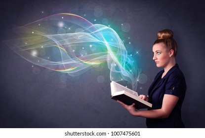 Casual young woman holding book with rainbow waves flying out of it