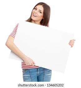 Casual young woman holding a white board